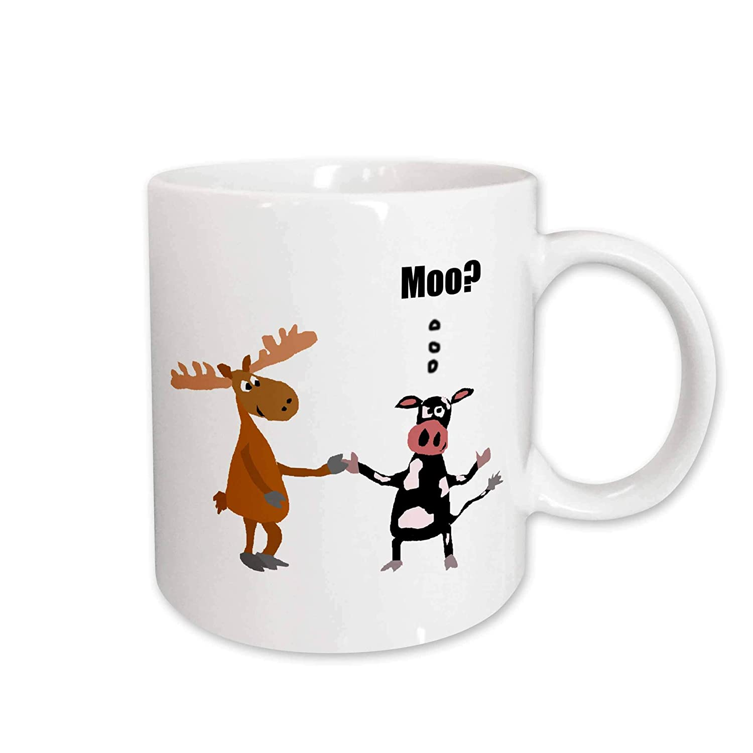 3D Rose 237250/_2Funny Black and White Cow Talking to Moose and says Moo Ceramic Mug 15 oz