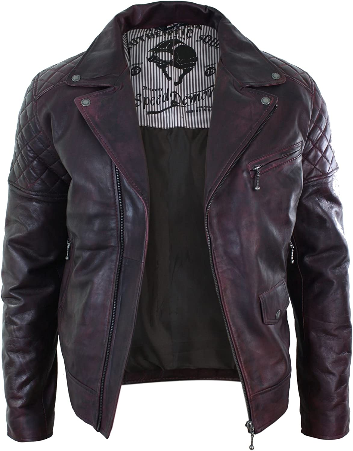 Aviatrix Mens Vintage Washed Wine Maroon Leather Biker Jacket Cross Zip Retro Burgundy