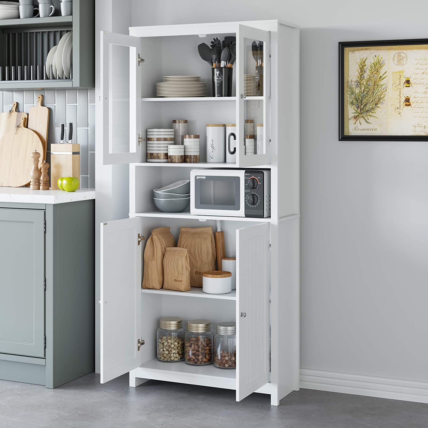 Traditional Elegant Design for Living Room Kitchen Hallway Homfa 74.8 Inch Bookcase Kitchen Buffet Cupboard Cabinet White Freestanding Pantry and Hutch with Framed Glass Doors and Open Shelf