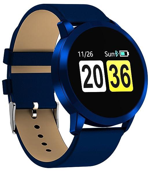 Hombres Mujeres Bluetooth reloj inteligente para Android IOS Fitness Tracker con ritmo cardíaco monitor de presión sanguínea: Amazon.es: Relojes