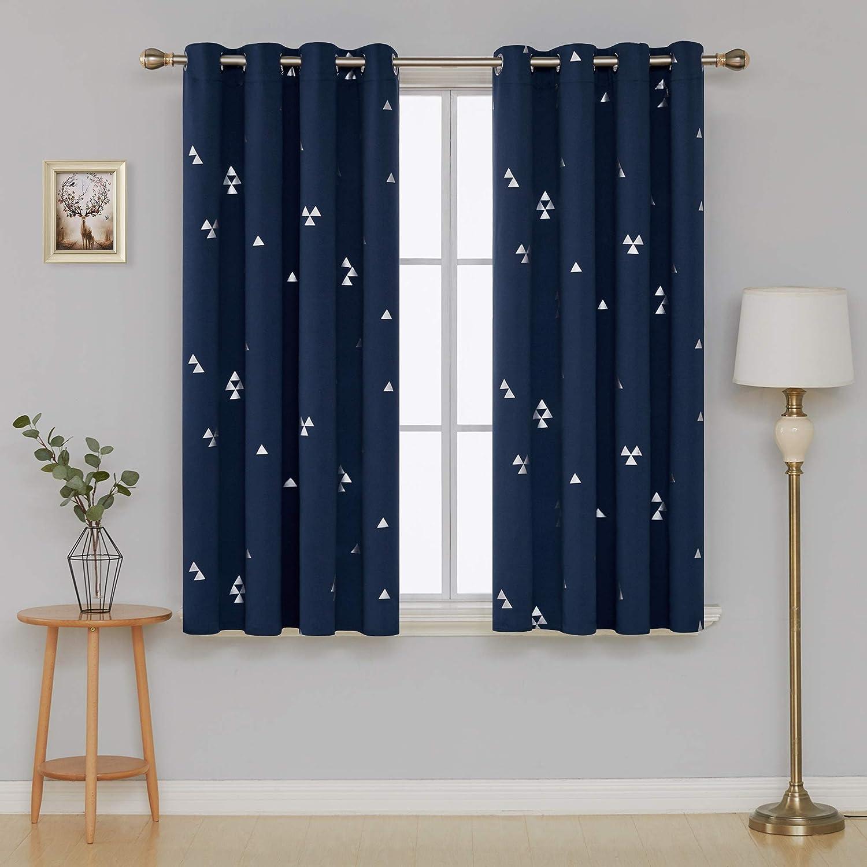 Deconovo Cortinas para Ventana de Sal/ón Dormitorio y Cocina Dise/ño de Gotas con Ojales 2 Paneles 117 x 138 cm Azul Marino