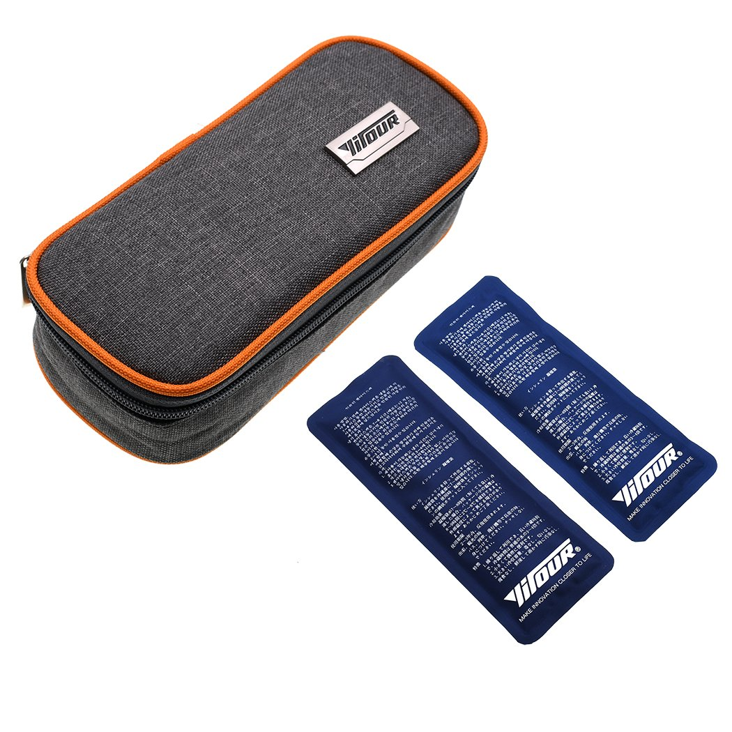 Insulin Cooler Bag, Luckybuy Diabetic Organizer Medical Travel Insulin Cooling Case with 2 Ice Packs (orange)
