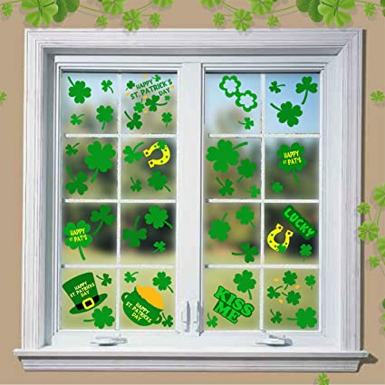 Party Ornaments Moon Boat 102 PCS St Patricks Day Decorations Shamrock Window Clings Clover Static Decal Stickers