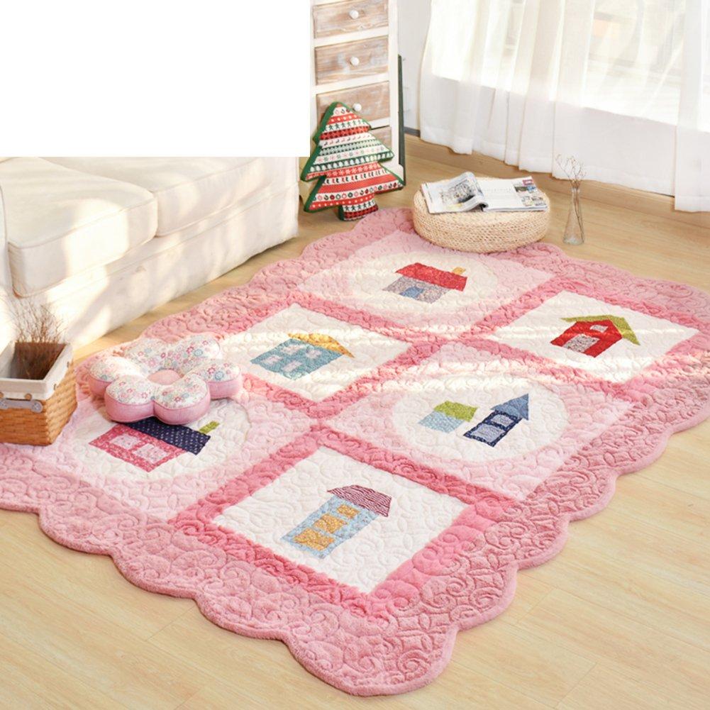 DXG&FX Korean-style thickening cotton anti-skid carpet bedroom bedside bar mats-C 150x210cm(59x83inch)