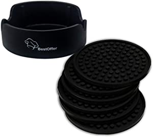 Drink Coasters by BestOffer   Silicone Large Coasters Set with Holder 6 Pack Black