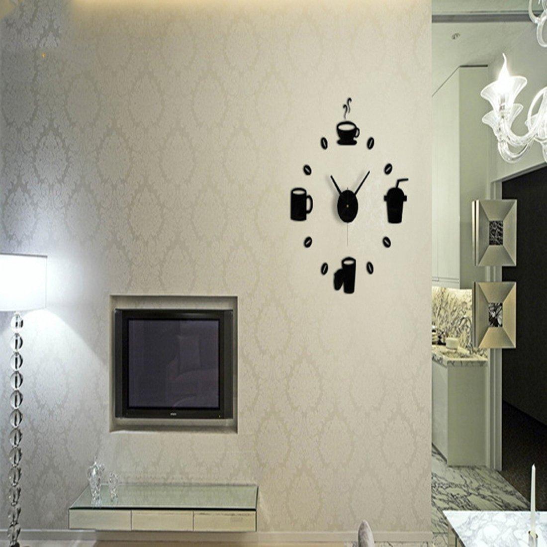 joyliveCY Kaffeetassen Küchenwandkunst Spiegel Uhr Modernes Design ...