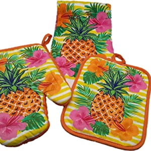 Oven Mitt Set - Kitchen Decorations - Bring The Tropics of Pineapple and Hibiscus Into The Kitchen - Dish Towel - Oven Mitt - Pot Holder - Kitchen Decor