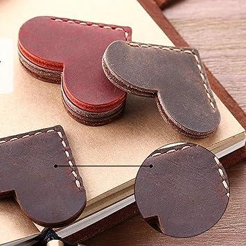 segnalibro in vera pelle Segnalibro in pelle a forma di cuore fatto a mano Marrone personalizzato 3 pezzi