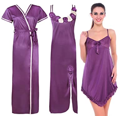 1045361323ee60 The Orange Tags Ladies Long Satin Chemise Nightdress Nightie Womens  Dressing Gown 3pc Set Purple: Amazon.co.uk: Clothing