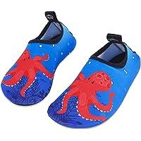 Kids Beach Swim Shoes Child Barefoot Skin Aqua Socks Boys Girls Water Sport Shoes for Pool Garden Surf Yoga -  Red Octopus - 1.5/2.5 UK ( 32/33 EU )