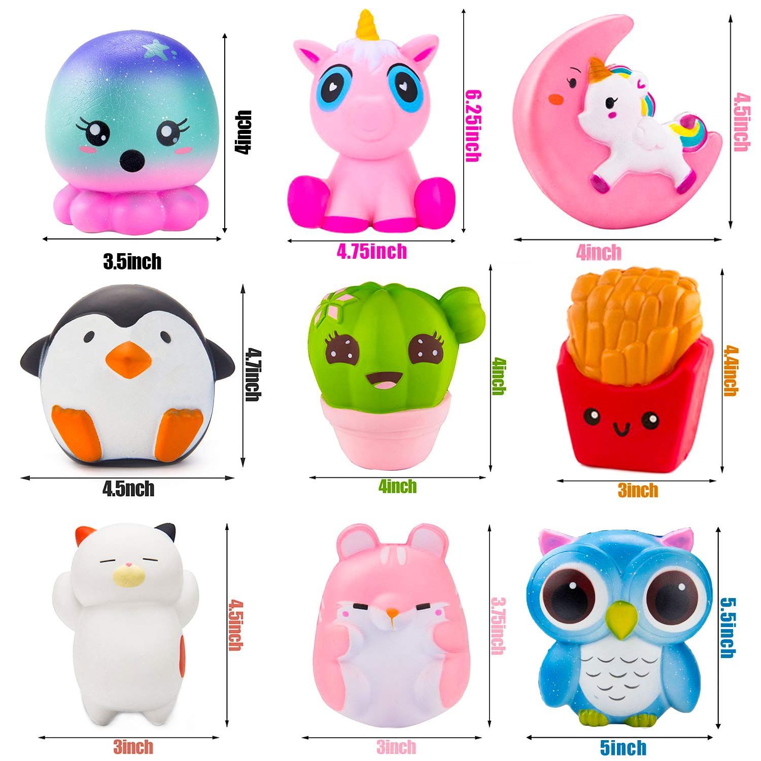 BeYumi Slow Rising Toy, Unicorn, Panda, Deer, Cat Squishy Toy, Kawaii Jumbo 10 Pcs Cream Scented Simulation Cute Animal & Food Squeeze Toys for Collection Gift, Decorative props Large or Stress Relief by BeYumi (Image #6)