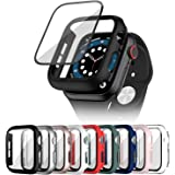 Cuteey 9 Pack for Apple Watch Series 3 38mm Hard Case with Built-in Tempered Glass Screen Protector, Overall Full Protective