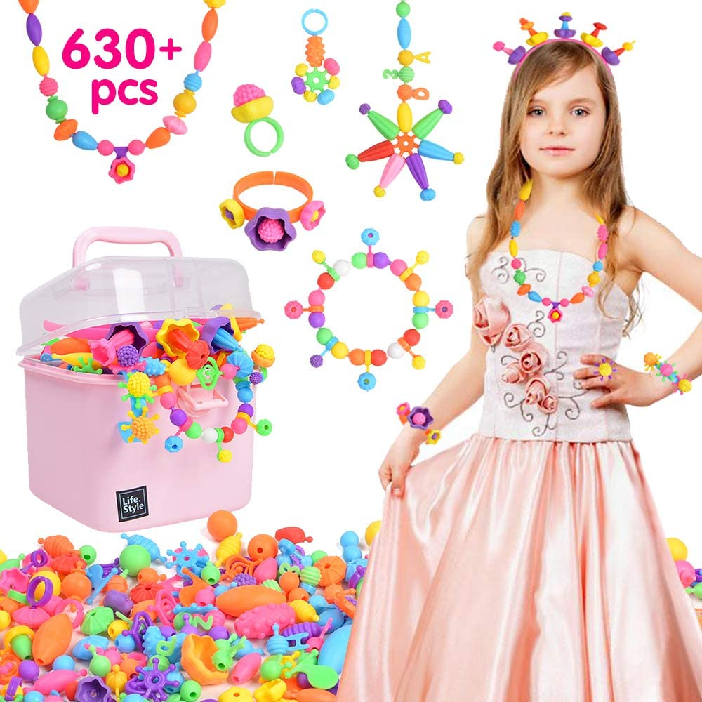 VICOVI 630+ Pop Beads DIY Jewelry Making Kit for Girls Kids, Snap Beads Creating Necklace, Bracelet, Hairband Ring Toys for Age 4 5 6 7 8 9 (with Storage Box)