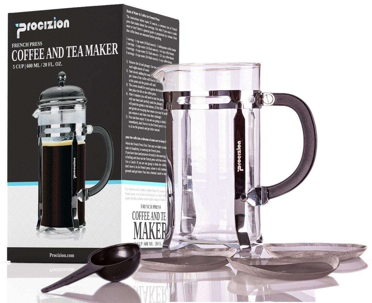 French Press Coffee Maker - 20 oz (600 ml) Espresso and Tea Maker with Triple Filters, Stainless Steel Plunger and Heat Resistant Borosilicate Glass with 6 Bonus Filters - by Procizion by Procizion