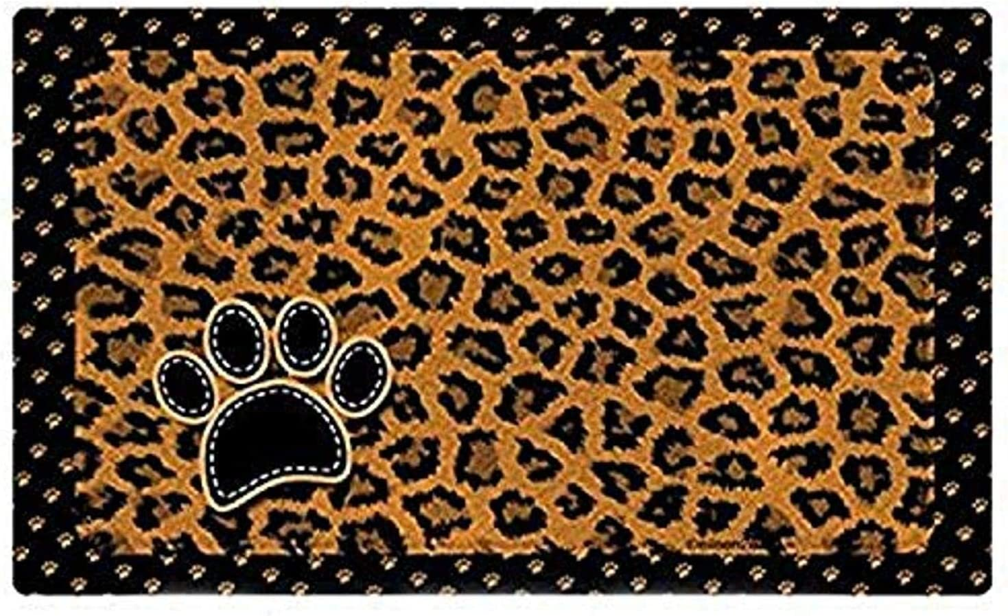 Drymate Pet Bowl Place Mat in Furtitude, 12 by 20-Inch, Leopard, Tan
