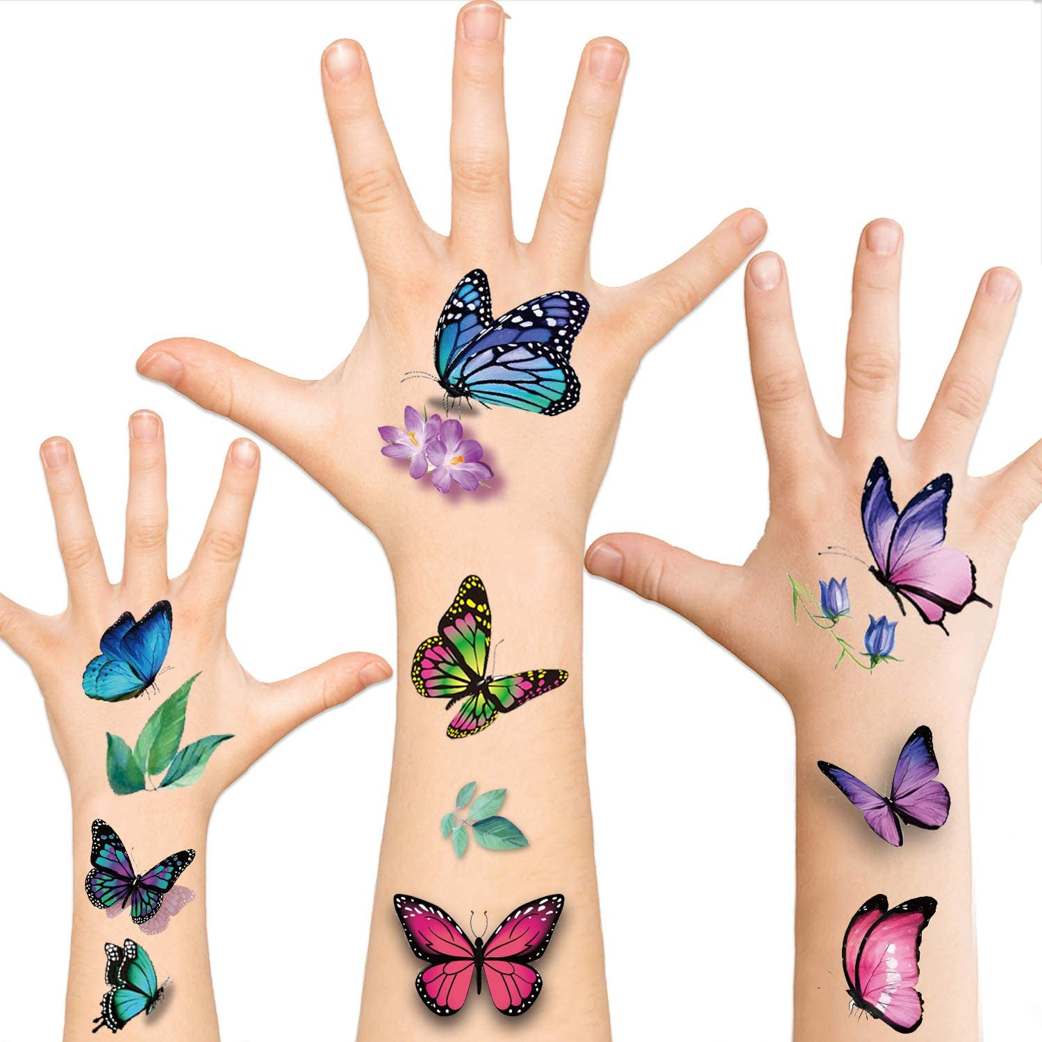 Butterfly Temporary Tattoos For Women 3d Butterfly Colorful Fake Tattoos Sexy Body Art Tattoo Stickers For Girls Adults 12 Sheets Amazon Co Uk Beauty