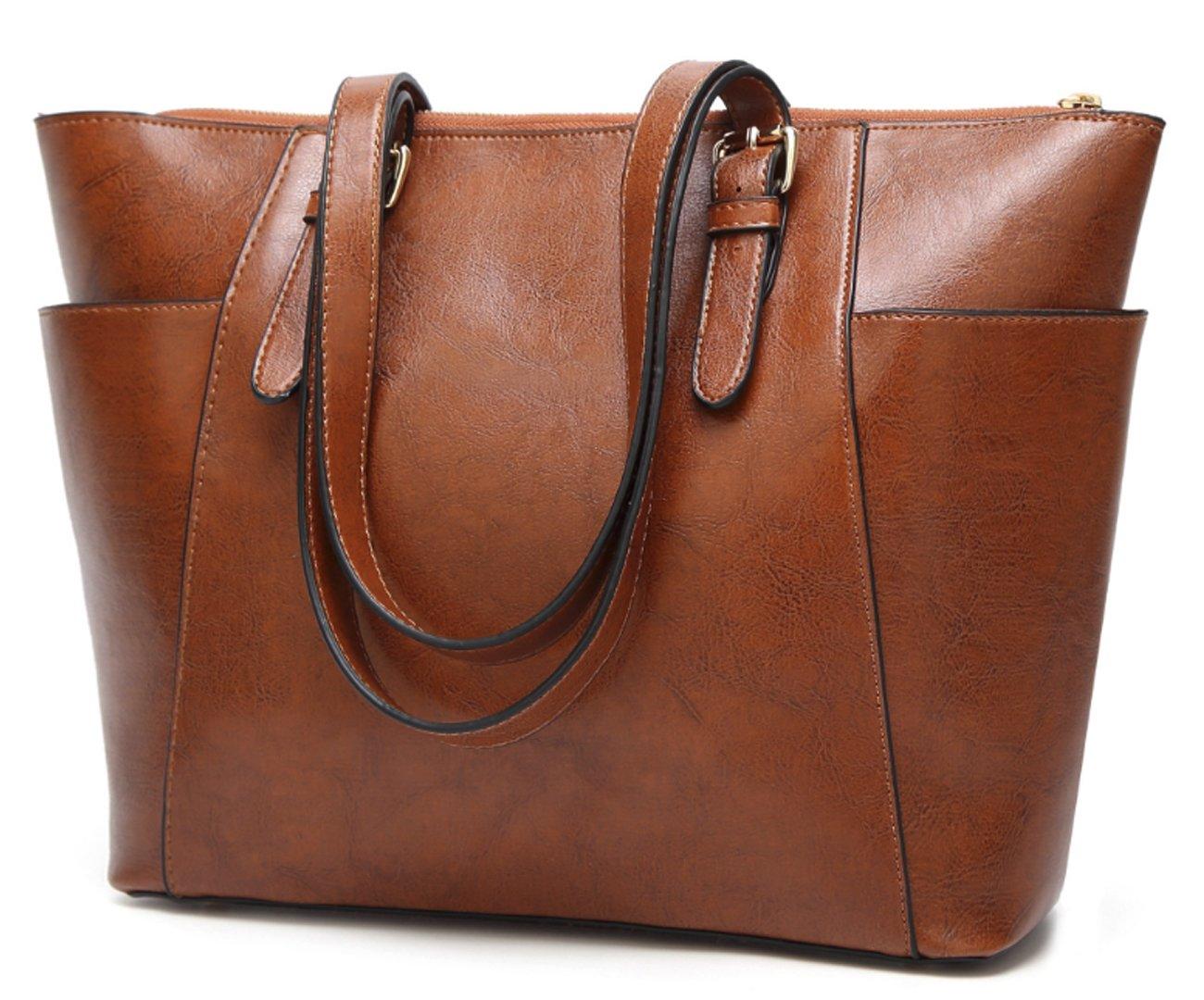 Women's Vintage Fine Fibre Genuine Leather Bag Tote Shoulder Bag Handbag Model Pocket Brown