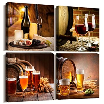 Kitchen wall decor Restoring ancient ways Still life Wine glass Wine barrel  Canvas Prints Wall Art for Dining Room Bar Home Decorations 12x12 inch/4 ...