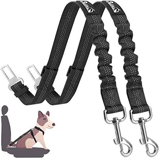 SlowTon Dog Seat Belt, 2 Pack Adjustable Pet Car