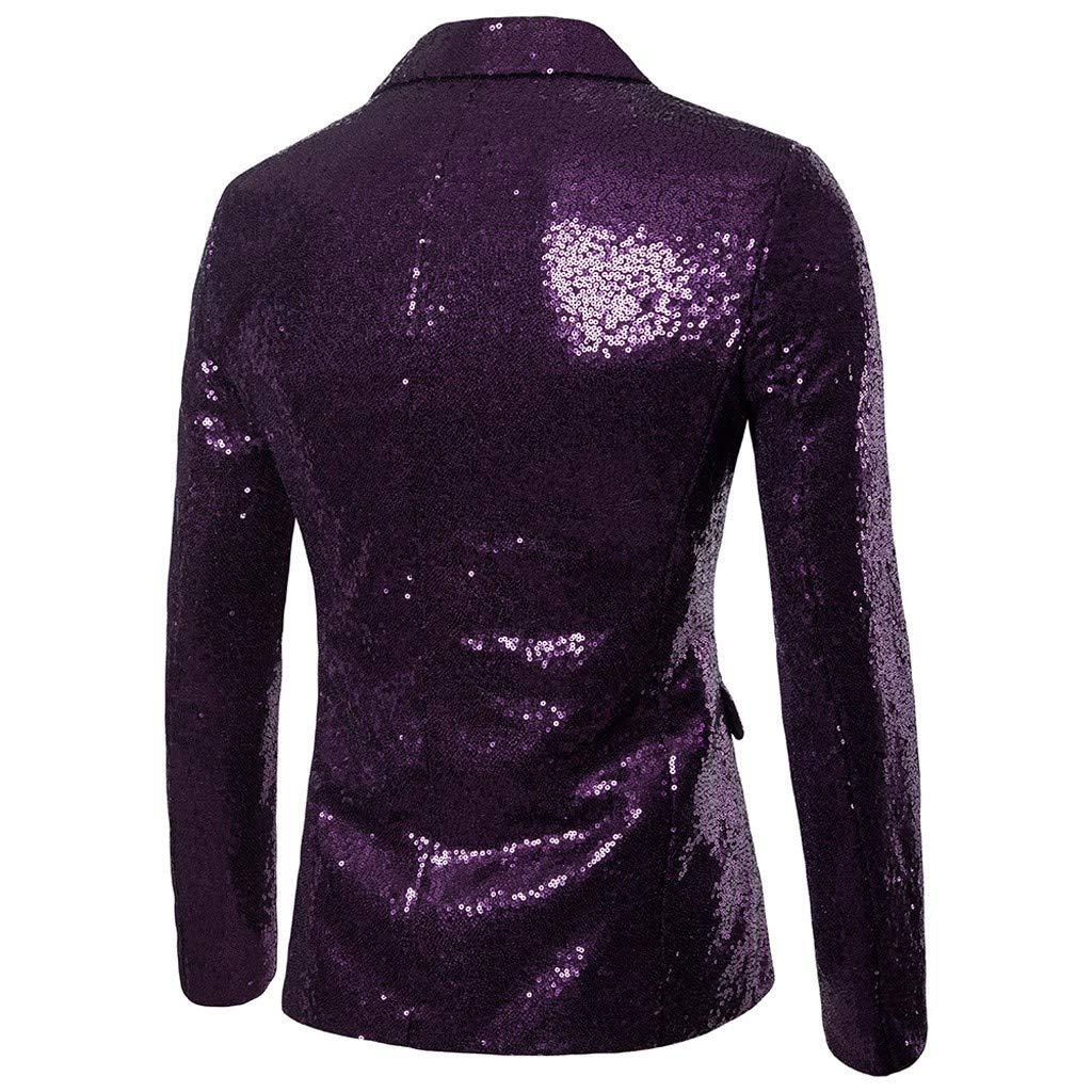 Zarupeng Herren Pailletten Blazer Casual EIN-Knopf-Anzug Slim Fit Anzug Blazer Mantel Jacke Performance-Kost/üm f/ür Hochzeit und Party