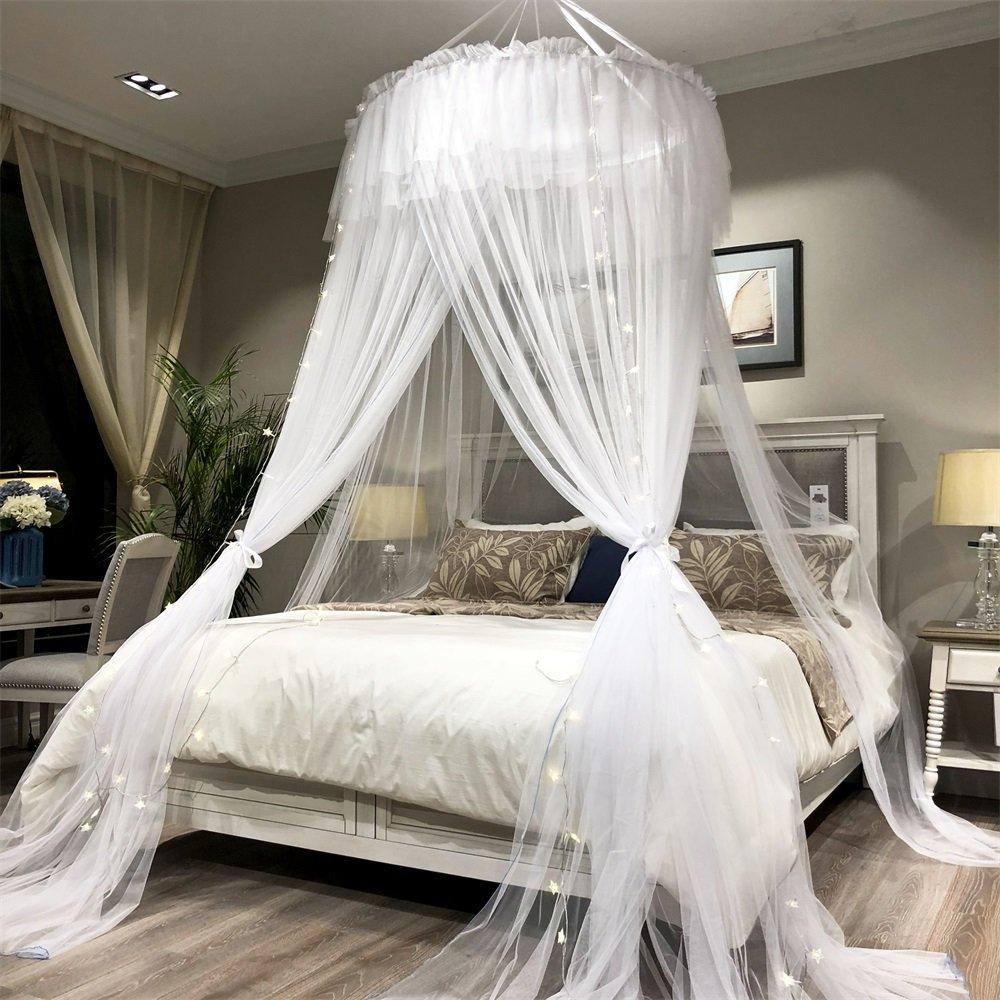amazon com joyreap bed canopy curtain round lace dome mosquito rh amazon com