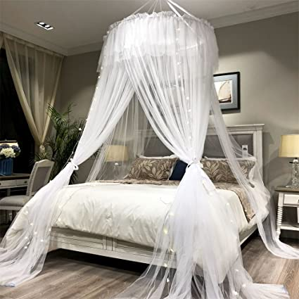 Joyreap Bed Canopy Curtain Round Lace Dome Mosquito Net Super Big Princess Bed Decoration Canopies For Adults Teens Women Girls