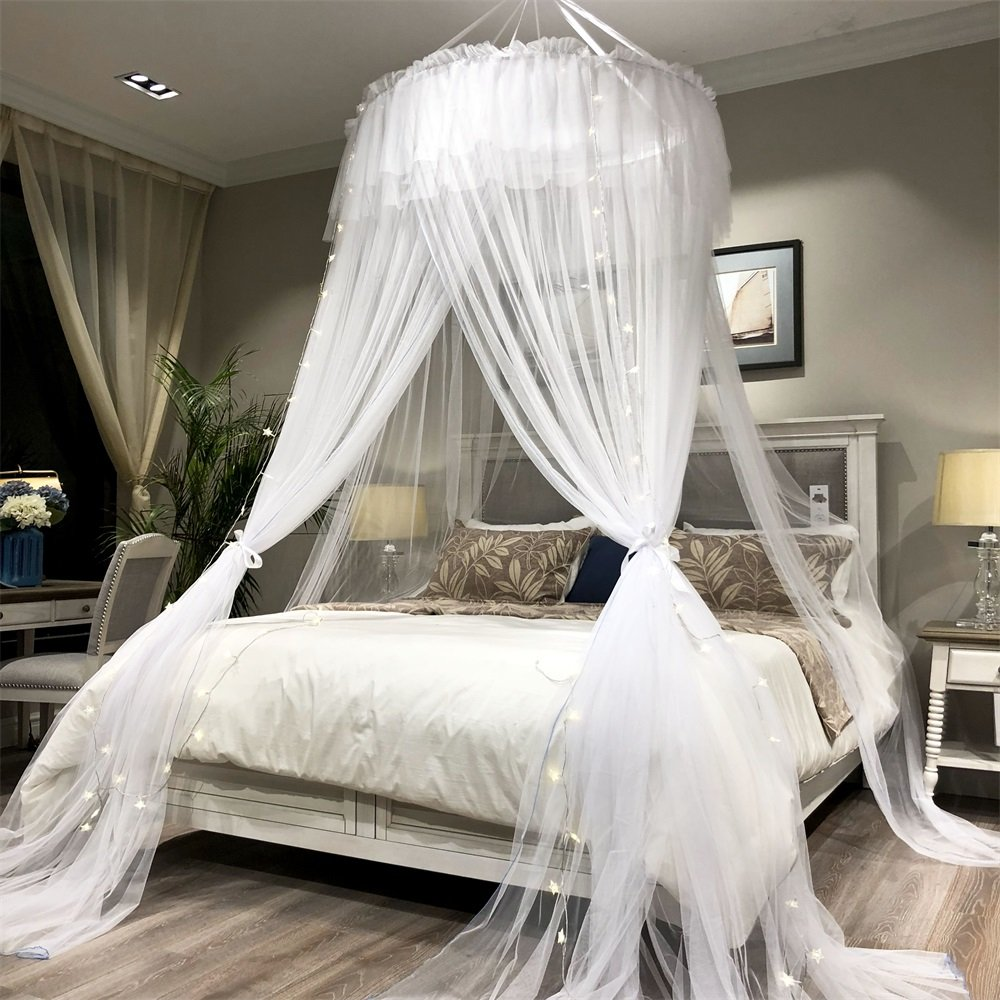 Joyreap Oversize Bed Canopy - Round Lace Dome Mosquito Net - Super Big Princess Bed Decoration Canopies Adults & Teens & Women & Girls - Twin/Full/Queen/King Beds Suited (White)