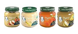 Gerber 1st Foods Organic Baby Food Jars Variety Pack, 3 Apple, 3 Banana, 3 Carrot, 3 Pear, 4 OZ Each, 12 CT