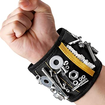 DIY Magnetic Wristband Strong Magnets Screws Nails Drill Bit Tool Belt Pouch