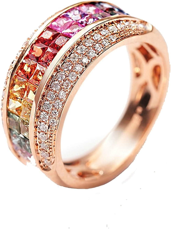 AnaZoz (Tamaño Personalizado) 18K Oro Joyas Anillo Diamante Anillo Mujer Anillo Multicolor Piedras Preciosas Redondo Anillo de Diamantes Anillo Oro Rosa