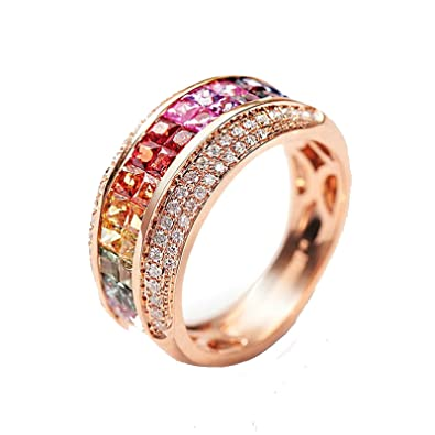 d24af4aa61f3 AnaZoz (Tamaño Personalizado) 18K Oro Joyas Anillo Diamante Anillo Mujer  Anillo Multicolor Piedras Preciosas Redondo Anillo de Diamantes Anillo Oro  Rosa ...