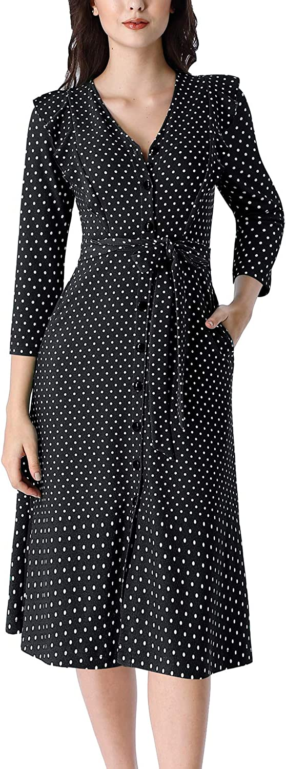 VFSHOW Womens Ruffle Pockets Work Office Business Casual Party A-Line Midi Dress