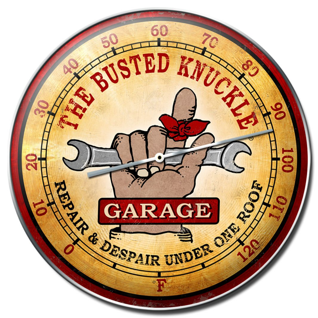 Busted Knuckle Garage BUST043 Round Automotive Wall Thermometer