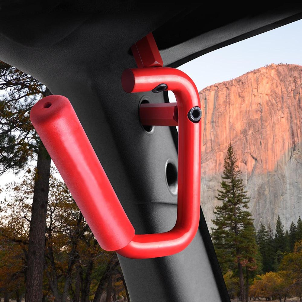 Yescom 2X Grab Handles Front Bars Kit Solid Steel for 07-16 Jeep Wrangler JK 2//4 Doors Red 4347614625