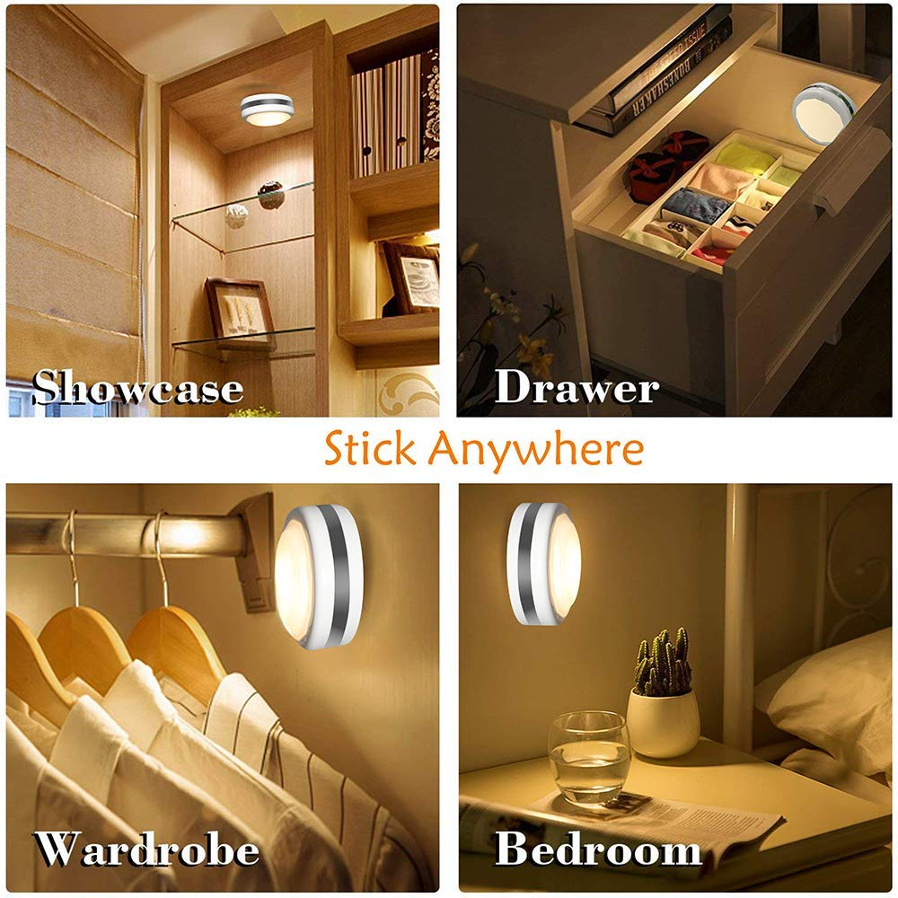 Puck Lights With Remote, Starxing Wireless Led Puck Lights Battery Operated, Led Puck Lights With Remote Control, Led Under Cabinet Lighting, Dimmable Closet Light, Battery Powered, 4000K Natural Whit by Starxing (Image #7)