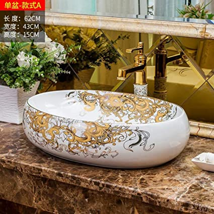 Antico Lavello In Ceramica.Rttgor Lavelli Da Bagno Stile Antico Dipinto A Mano Art Lavabo Lavabi Da Appoggio Lavelli Bagno Ovali Amazon It Fai Da Te