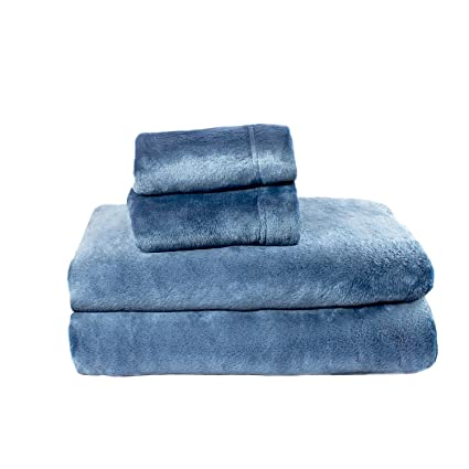 Cozy Fleece Comfort Collection Velvet Plush Sheet Set, Denim, 1 Sheet Set best full-sized fleece sheets