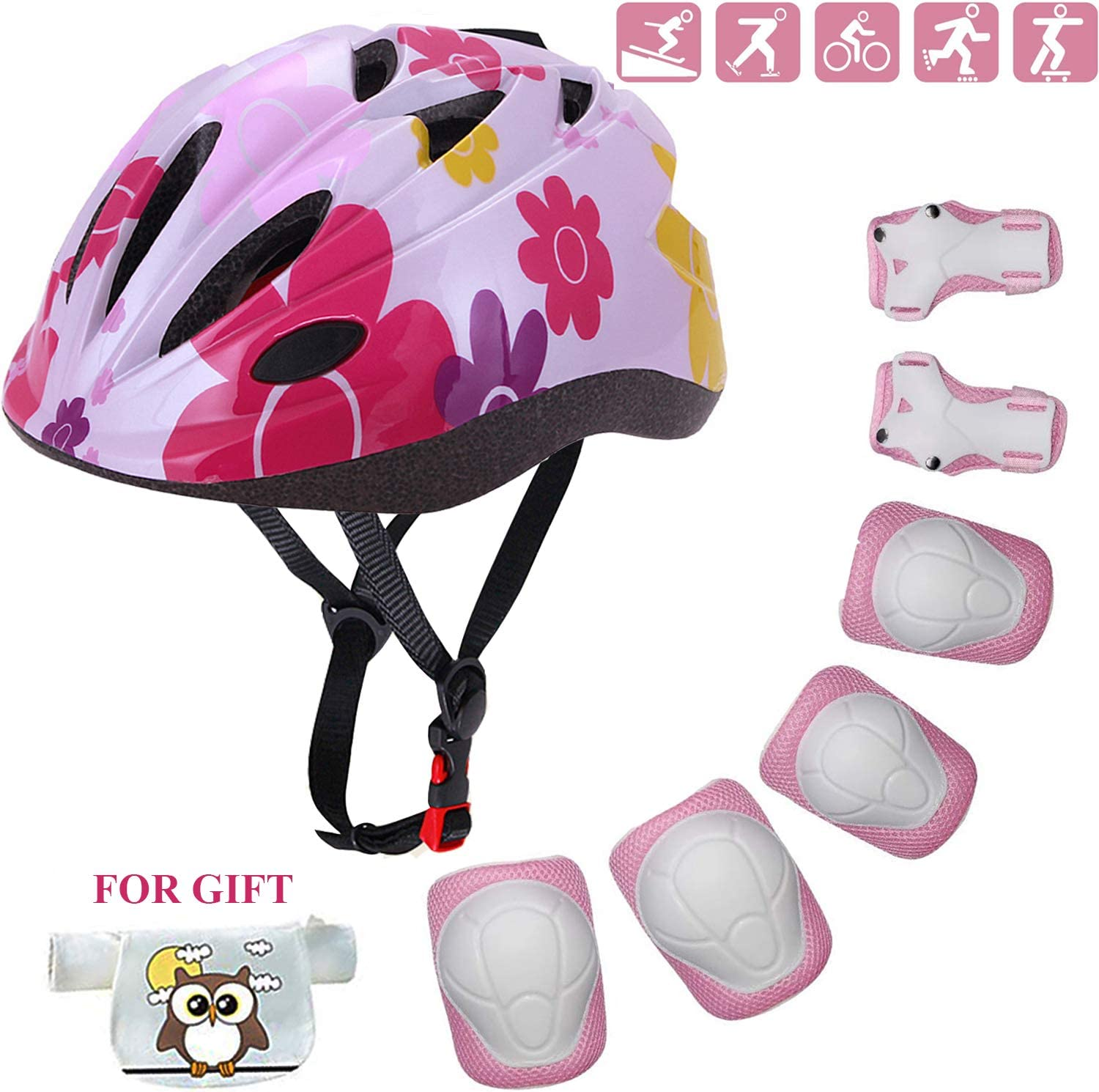 Kids Helmet Adjustable with Sports Protective Gear Set Knee Elbow Wrist Pads for Toddler Ages 4 to 10 Years Old Boys Girls Cycling Skating Scooter Helmet