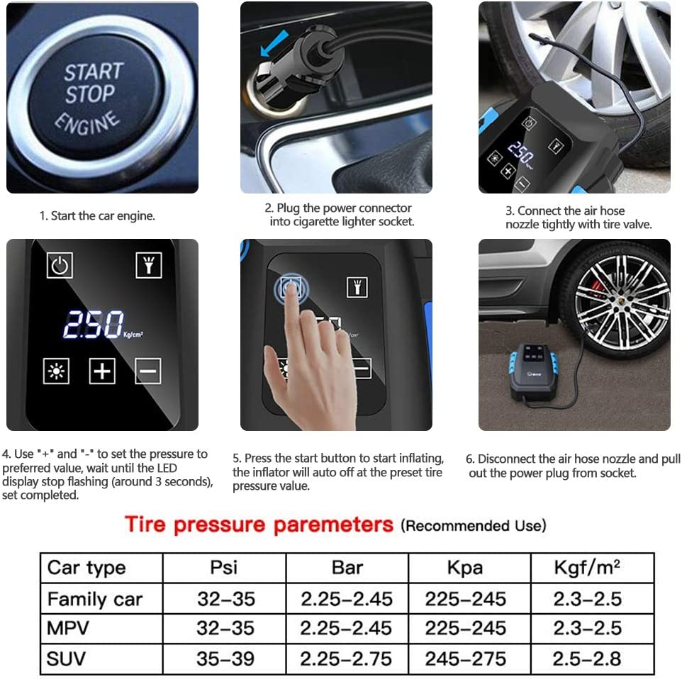 LCD Screen 12V 120W 150PSI Air Compressor Pump with Pressure Gauge Digital Tyre Inflator Larger Air Flow Bright Emergency Light and 3 Valve Adaptors for Cars Bikes Airbeds Motorcycles Basketball