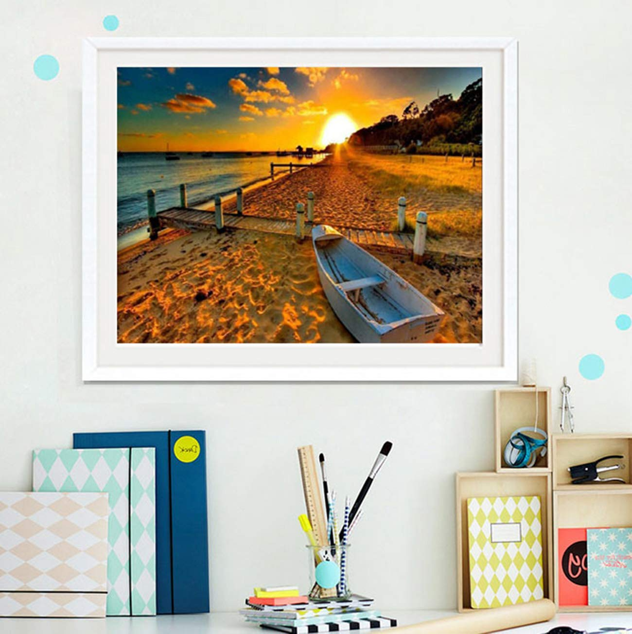 Sunset by The Sea DIY 5D Diamond Painting Kits for Adults Paint with Diamonds for Home Wall Decor Gift Arts Craft B Diamond Painting by Numbers for Adults Diamond Painting Kit 16x12 Inch