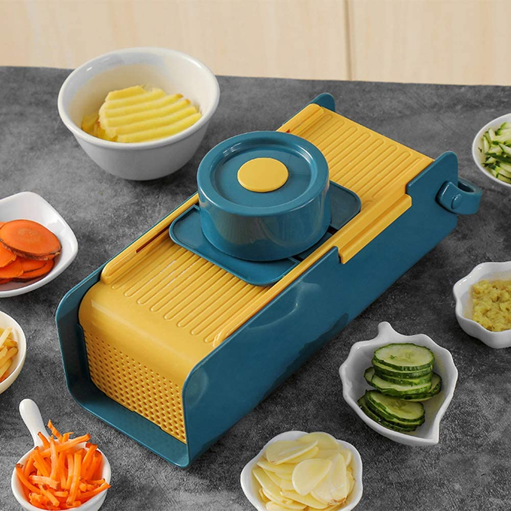 CLKATHRE Vegetable Chopper Onion Choppers Mandoline Slicer Cutter Dicer Kitchen Manual Hand Held Veggie Stainless Steel Food Chopper for Vegetable (Yellow-Blue)