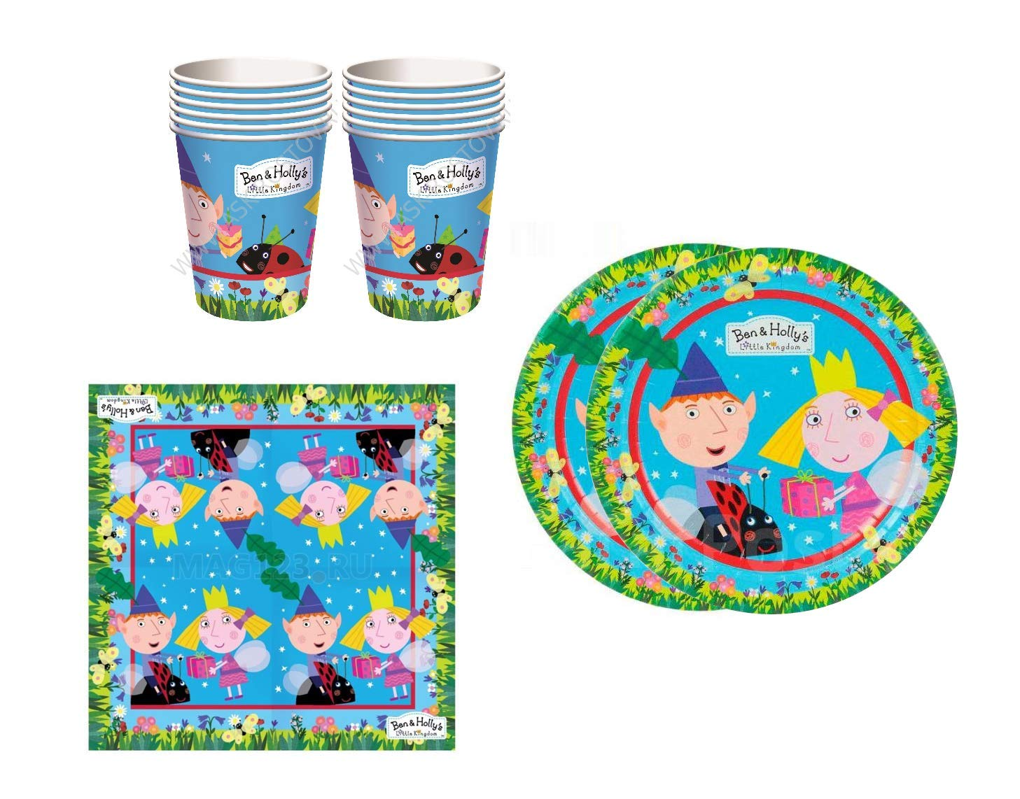 Ben and Holy Birthday Party Supplies Set Plates Napkins Cups Kit for 12 by BH (Image #1)