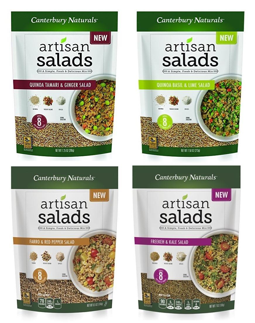 Canterbury Naturals Artisan Salad Ancient Grain Sampler 6-Pack (1 Freekeh / 2 Farro/ 2 Quinoa Sesame Ginger/ 1 Quinoa Basil Lime)