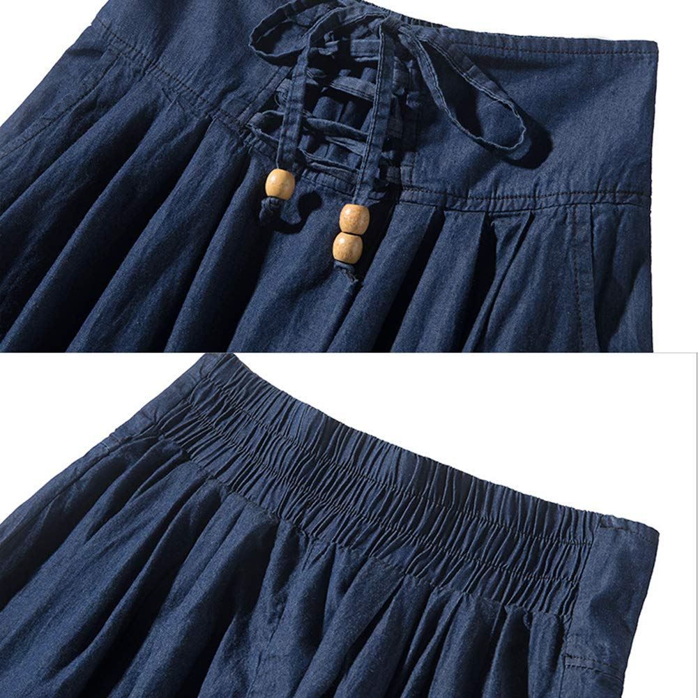 S.CHARMA Ladies A Line Denim Jeans Skirts Pleated Skirt Fastener Long Maxi Skirts with Pocket,Daily and Travel