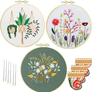 Embroidery Kits for Starters Beginners Nuberlic 3 Pack Cross Stitch Kit with Pattern for Adults Kids Craft Stamped Embroidery Cloth Hoops Threads Needles