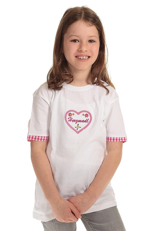 Isar Trachten Kinder T-Shirt weiß Trachtenshirt Mädchen Shirt kurzarm mit Aufdruck Herzmadl