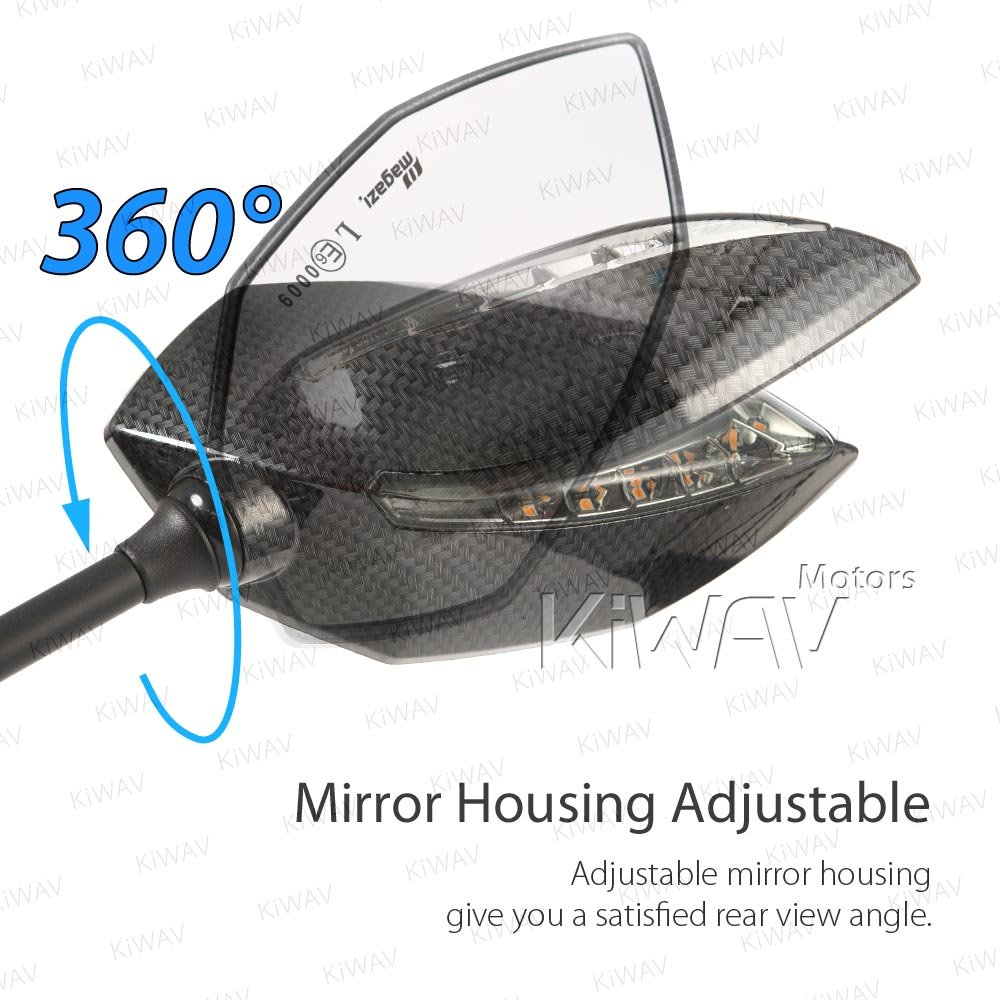 Motorcycle Two-tone LED with Sequential Effect Fairing Mount Convex Lens Mirrors Lucifer Carbon for Sportsbike