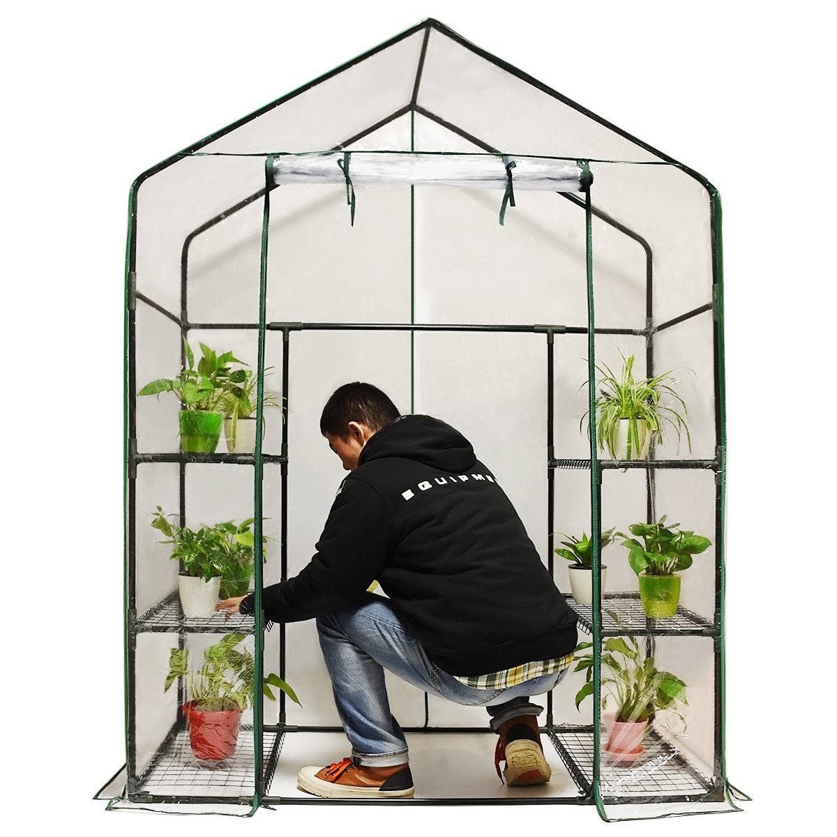 Quictent Greenhouse Mini Walk-In 3 tiers 6 shelves 102lbs Max Weight Capacity Portable Plastic Garden Outdoor Green House 56''x29''x77''