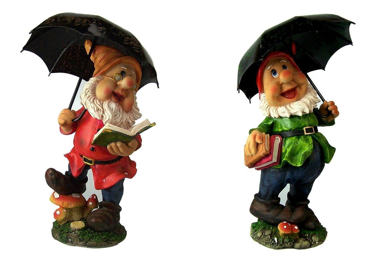 Set of 2Large Garden Gnomes with Umbrella, Gnomes, 38cm 38cm Unbekannt