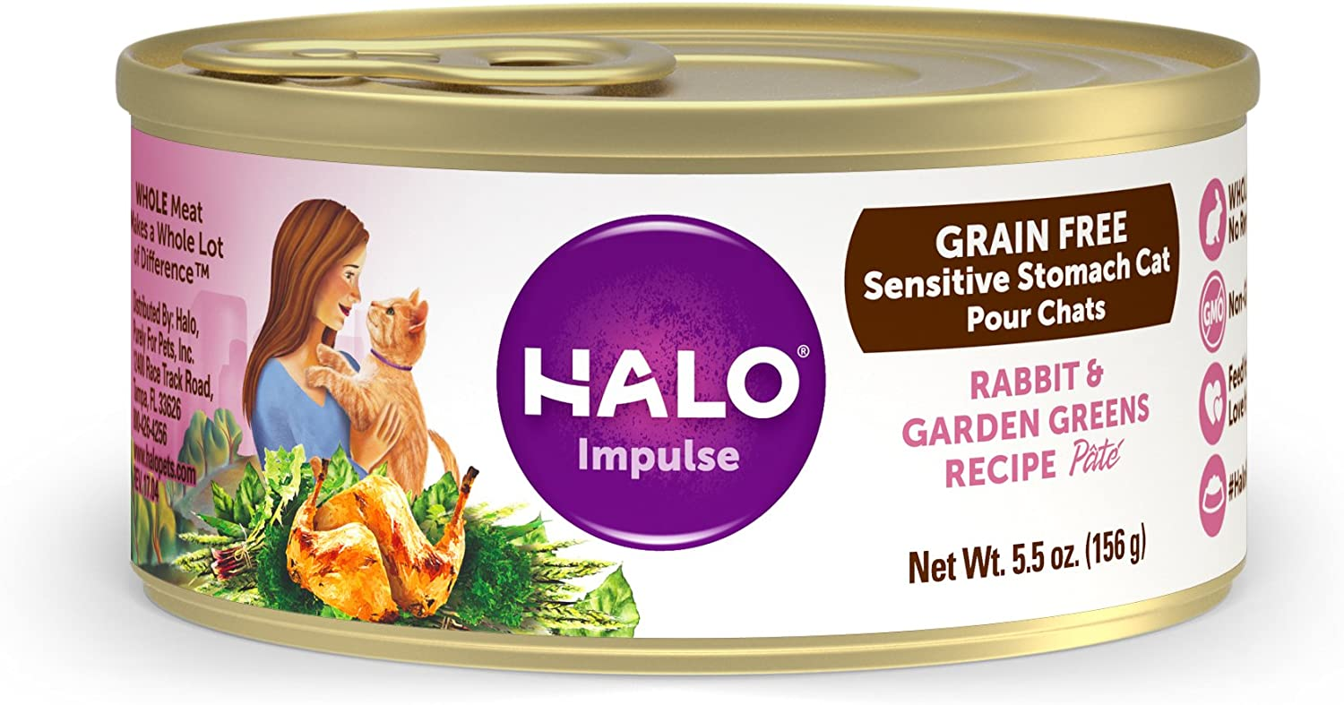 Halo Natural Wet Cat Food, Sensitive Stomach Recipe, 5.5oz. Can ( Pack of 12)